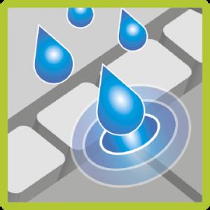 Wasserdurchlässigkeit Fugensand - Piktogramm
